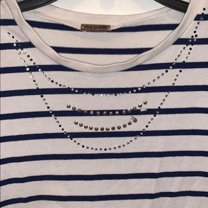 Poof! Shirts & Tops - Girls striped cap sleeve tshirt with embellishment